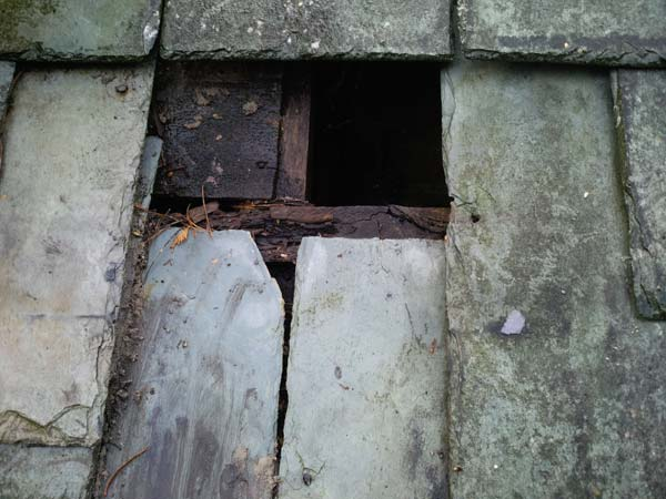 Roof Slate Tile Repair Before Photo - Bournemouth Roofing Dorset